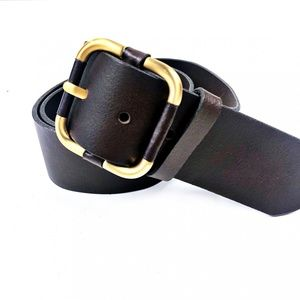 Banana Republic Brown Leather Brass Buckle Belt